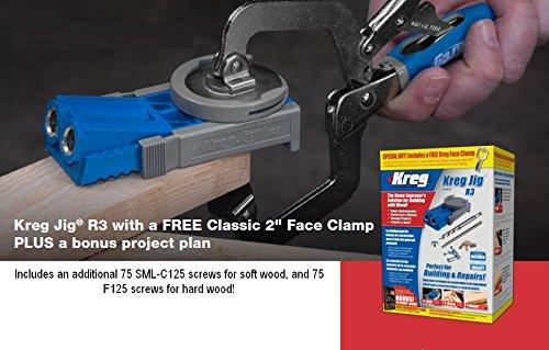 Kreg R3 Pocket Hole Jig + 2 inch assembly clamp + 150 bonus DIY project screws