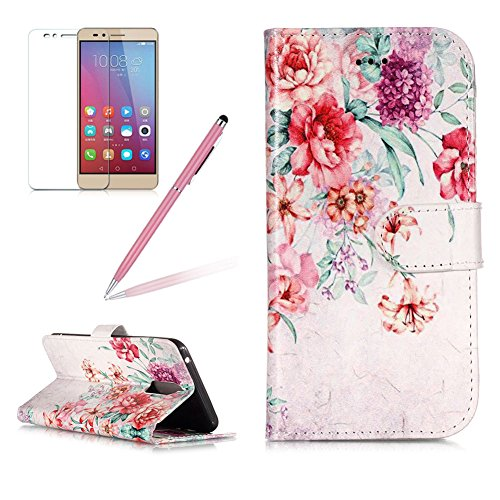 Case for Huawei Mate 9 Pro,Girlyard Colorful Painting Premium PU Leather+TPU inner Book Style Magnetic Closure Flip Stand Feature with Screen Protector for Huawei Mate 9 Pro-Vintage flower (Mate Strap Forms Fashion)