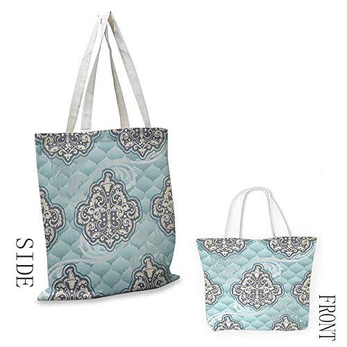 Shopping work bag Victorian Rococo Style Design Tiles Stylish Romantic Brocade Diamond Arabesque Swirls Cosmetic bag 16.5