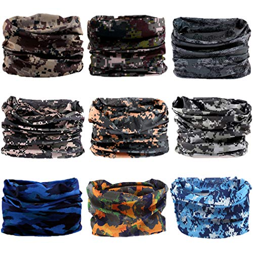 Neck Gaiter, Magic Headband Sport Headwear Elastic Face Mask Bandana Scarf UV Resistence Balaclava, Headwrap Helmet Liner for Men and Women - Cycling, Fishing, Running, Hiking, Camping