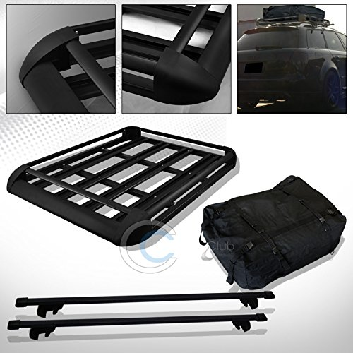R&L Racing 52' BLK SQUARE TYPE ROOF RAIL RACK CROSS BARS KIT W/CARGO CARRIER BASKET+BAG C1