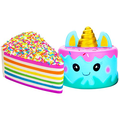 R.HORSE Jumbo Cute Narwhal Cake, Rainbow Cake Set Kawaii Cream Scented Squishies Slow Rising Decompression Squeeze Toys for Kids or Stress Relief Toy Hop Props, Decorative Props Large (2 Pack)