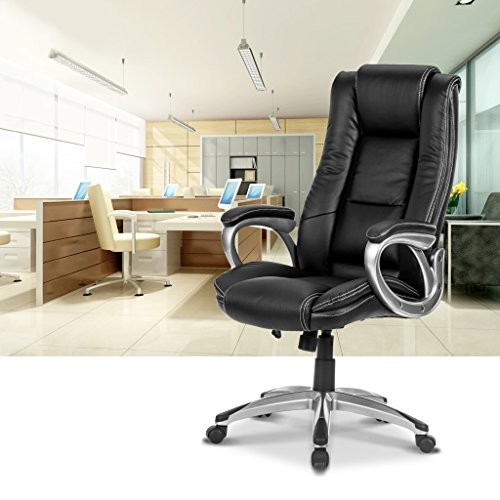 LANGRIA High-Back Executive Office Chair Black Faux Leather Computer Chair, Modern and Ergonomic Design, Well-Padded Armrests, Adjustable Seat Height, Knee Tilt Mechanism, 360 Degree Swivel, LROC-7263 Photo #10