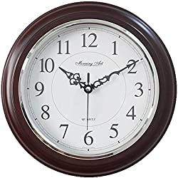Decorative Analog Wall Clock Silent Battery Operated Modern Quartz Round Wall Clock Simple for Home, Office, Bedroom, 10, White, Dark Brown Frame