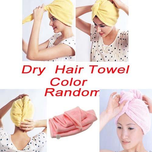 Toalla de microfibra para secar el cabello, diseño de turbante, color al azar: Amazon.es: Hogar