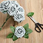 Febou-Artificial-Flowers-50-pcs-Real-Touch-Artificial-Foam-Roses-Decoration-DIY-for-Wedding-Bridesmaid-Bridal-Bouquets-Centerpieces-Party-Decoration-Home-Office-Decor-Standard-Type-Grey