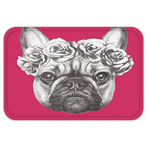 Aztec Hot Water Extractor (VROSELV Custom Door MatAnimal Cute Baby Pug Dog on a Pink Backdrop Hipster Retro Image Hot Pink Black White and Charcoal Grey)