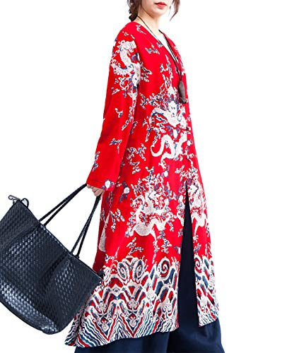 - YESNO T274 Women Long Trench Jacket Chinese Traditional Qipao Dragon Robe Lined/Pocket