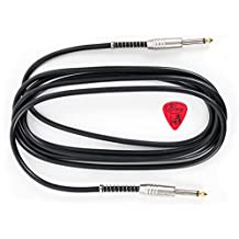 Bray's High Quality Straight Jack Black Phone To Phone Cable Bass Guitar Lead For Ibanez, Encore, Chicago, Tiger, Washburn & Rockburn Guitars - Length: 3m (10ft) - Bonus guitar Pick Included