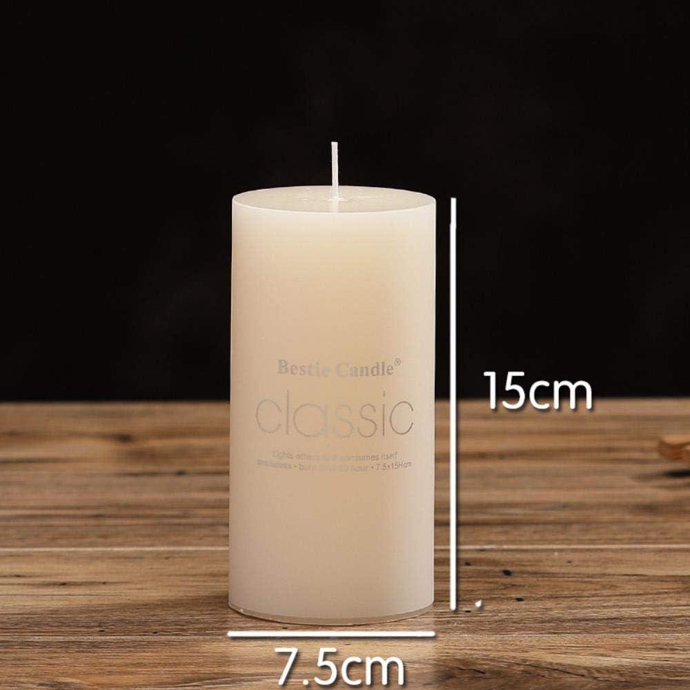 7,5 Bougie cylindrique sans fum/ée et Insipide europ/éenne Ivoire Blanche Grande Bougie Mariage h/ôtel Mariage 15 cm