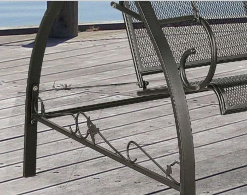 Amazon.com : Outdoor Porch Swing Deck Furniture With Adjustable Canopy  Awning. Weather Resistant Wrought Iron Metal Frame. Similar To A Porch  Glider The ...
