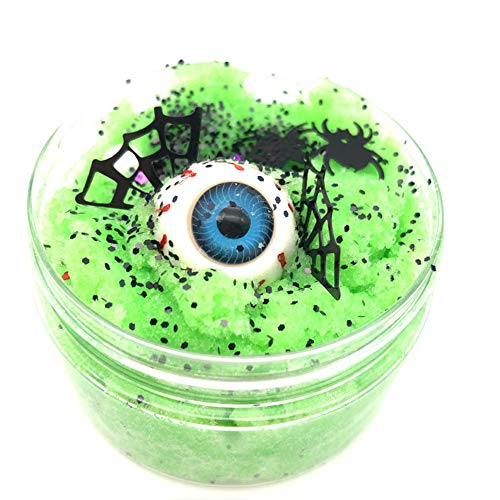 Gbell Newest Halloween Scary Eyeball Fluffy Cloud Slime Fairy Putty Mud,100ml Jumbo Floam Slime Stress Relief Toy Scented Sludge Toy for Girls Boys Kids and Adults,Super Soft and Non-Sticky (Green)