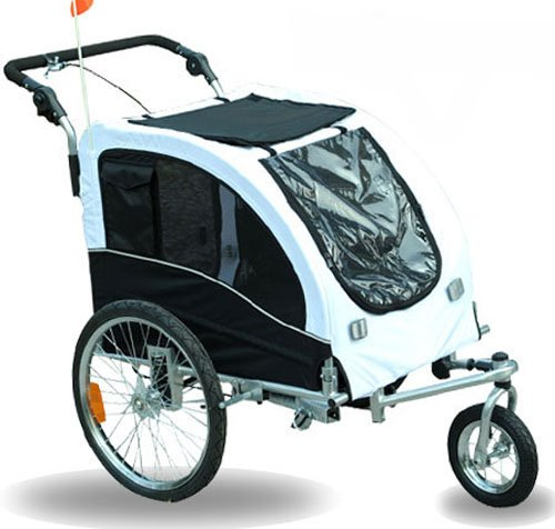 Aosom Elite II Pet Dog Bike Bicycle Trailer Stroller Jogger w/ Suspension - White