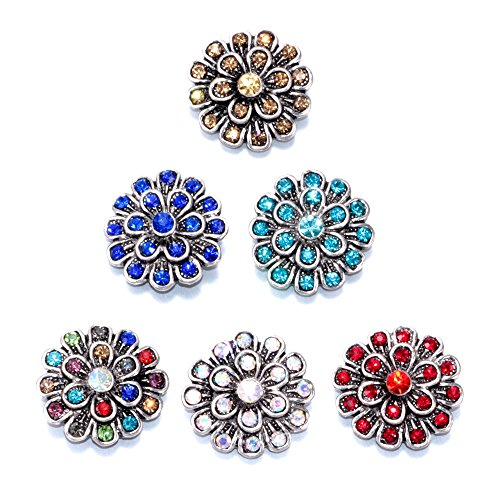 Soleebee 6pcs Mixed Alloy Rhinestones Snap Buttons Jewelry Charms (Peacock Spreads Its Tail)]()