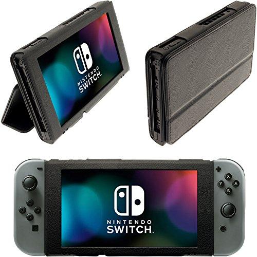 iGadgitz Black Portfolio PU Leather Flip Case for Nintendo Switch Cover with Foldable (Traveler Portfolio)