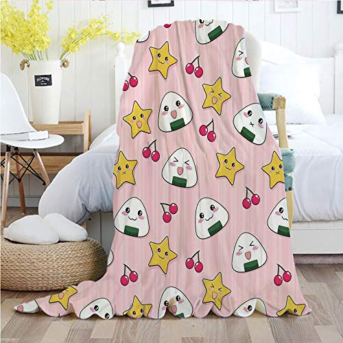 Anime,Throw Blankets,Flannel Plush Velvety Super Soft Cozy Warm with/Happy Crying Cute Cartoon Rice Balls Cherries Stars Pattern on Stripes Art/Printed Pattern(60