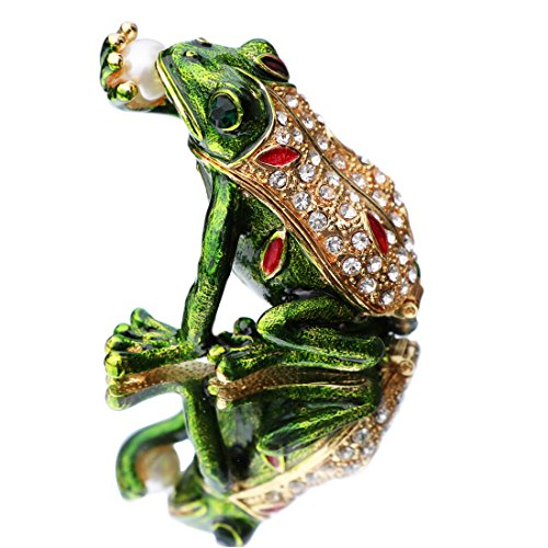 Enamel Animal Crystal - Waltz&F Kiss pearl frog Trinket Box Hinged Hand-painted Animal Figurine Collectible Ring Holder
