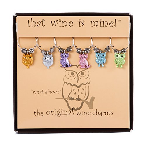 What a Hoot Wine Charms Set of 6, (Halloween Wine Charms)