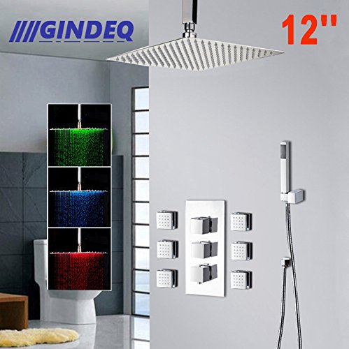 Square Thermostatic Shower (GINDEQ Bathroom Shower Set with Square LED Shower Head Handheld Rainfall Thermostatic 6 Massage Jets Spray Body Shower Conbo (B-12inch))