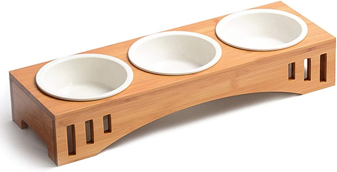 Companet Pet Raised Bowl Dog Cat Food Water Bowl Pet Dishes, Pet Feeder Pet Feeding Bowl with Detachable Raised Bamboo Stand Pet Food Feeder for Cats or Small Dogs - Cermic Bowls Triple