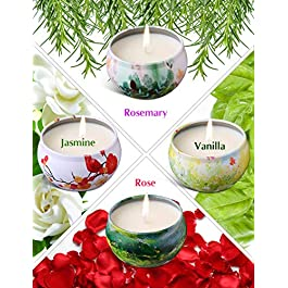 Ahyiyou Scented Candles, 100% Soy Wax Tin Candles, Natural Fragrance Candles for Stress Relief and Aromatherapy – 4 Pack Gift Set