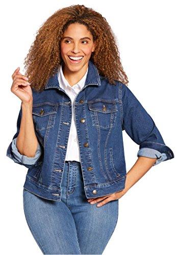 Woman Within Plus Size Stretch Denim Jacket - Medium Stonewash, 18 ()