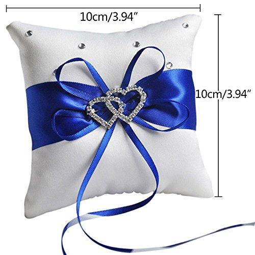 Lumanuby 1/x Anillo Coj/ín boda 10/* 10/cm Delicate anillos alianzas lazo de sat/én con coraz/ón brillantes Decoraci/ón Pillow para Wedding 10*10cm azul