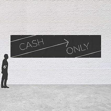 Cash Only CGSignLab 16x4 Basic Black Heavy-Duty Outdoor Vinyl Banner