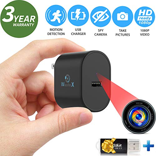 WazaTec X is a Spy Camera USB Charger/Hidden Covert Camera with Motion Detection Loop Recording – Mini Spy Camera 1080p – Cop Cam – Surveillance Camera Full HD – Hidden Nanny Cam – No Wi-Fi Needed