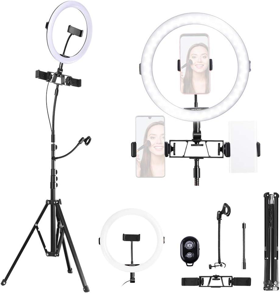 K&F Concept Aro de Luz, Aro Luz Tripode Alto, Anillo de Luz LED Regulable con Trípode, 2700K a 5500K Temperatura de 3 Modos de Color, CRI ≥ 95 para Maquillaje Selfie Youtube Vídeo