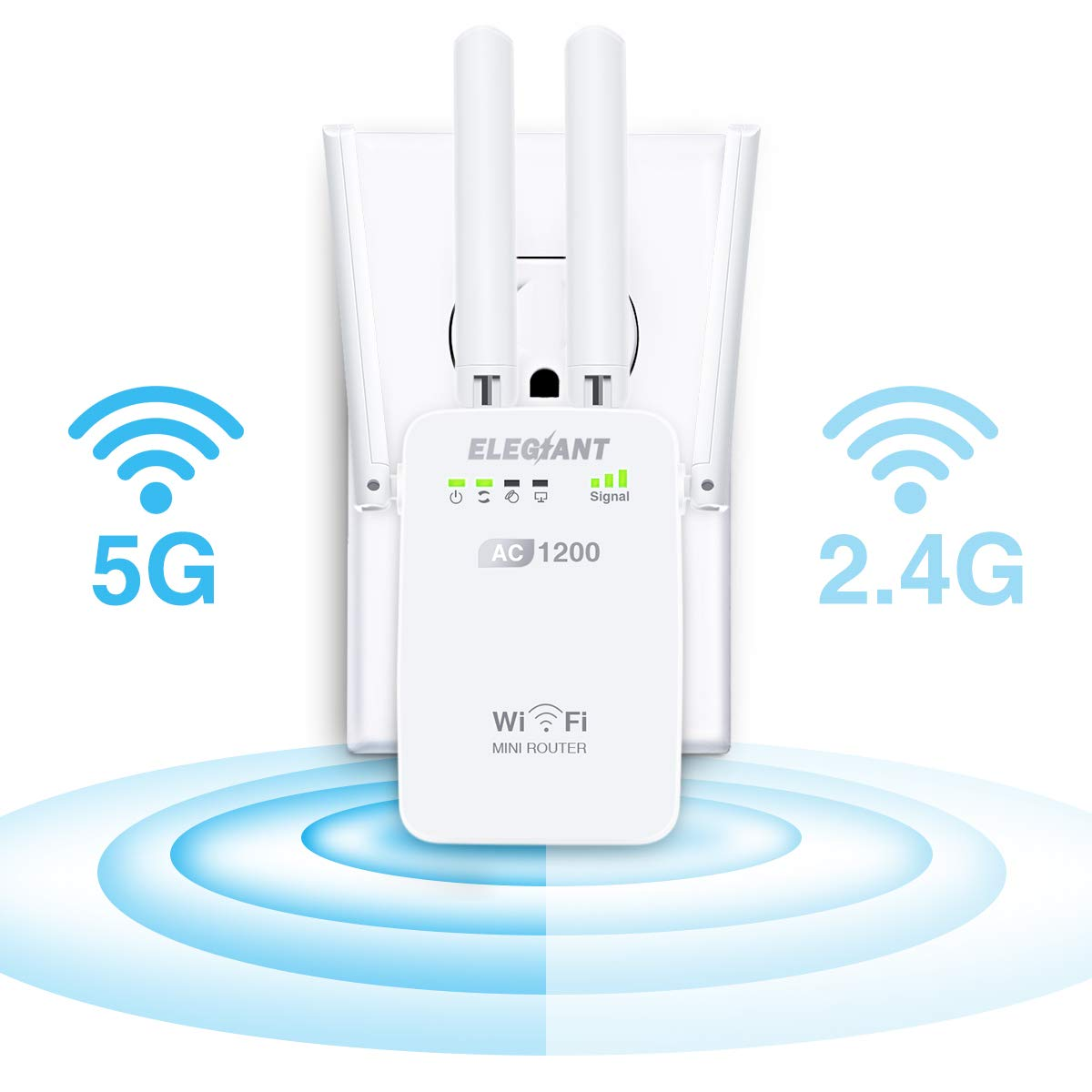 WiFi Range Extender, ELEGIANT AC1200Mbps Wireless WiFi Repeater Signal Amplifier Booster Supports Router/Repeater/Access Point, with High Gain 4 External Antennas and 360 Degree WiFi Coverage (White)