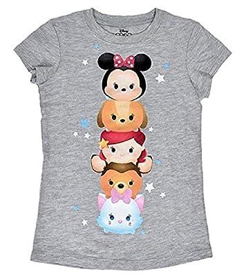 Disney Tsum Tsum Totem Pole Youth Girls Fashion Top T-Shirt, Gray