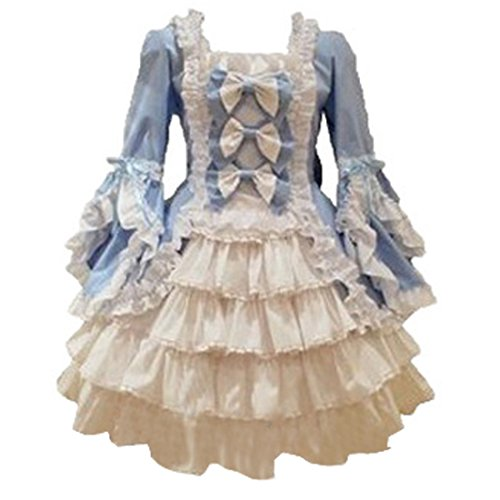 [Partiss Women Long Sleeves With Bowknot Classic Lolita Fancy Dress, L, Light Blue] (Comic Con Costumes For Females)