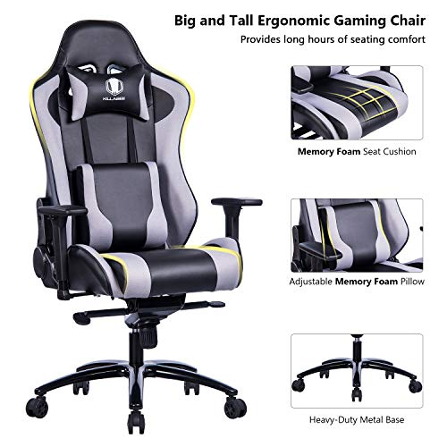 killabee big and tall metal base gaming chair ergonomic fabric leather racing computer chair. Black Bedroom Furniture Sets. Home Design Ideas