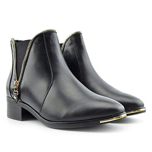 Kick Footwear Damen New Flat Ankle Boots, Ziehen Sie Am Casual Low Heel Damen Schuhe Schwarz