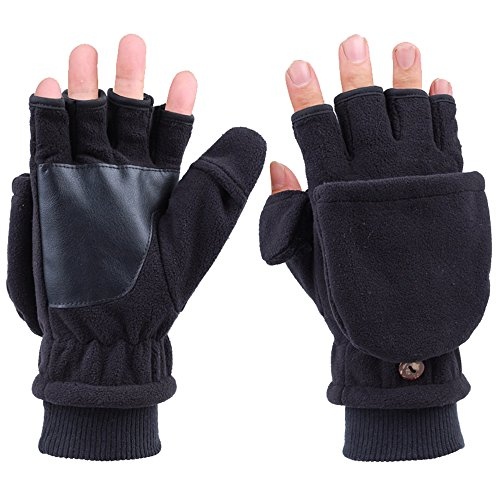 Men women Convertible Fingerless Gloves with Mitten Covers Thickened Polar Fleeced Gloves for Writing Typing Texting Cycling Running