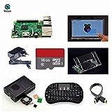 Raspberry Pi 3 Model B+ 7 inch Touch Screen+Mount+HDMI Cable+Keyboard+Case+Fan+Heatsinks+EU Power+16 GB SD Card.