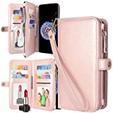 Galaxy S9 Case, Harryshell Luxury 11 Card Slots Mirror PU Leather Zipper Wallet Flip Kickstand Protective Case Cover with Wrist Strap for Samsung Galaxy S9 (2018) (Rose Gold)