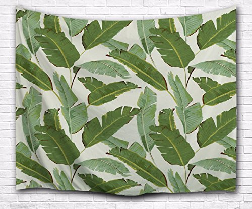 A.Monamour White Backgrounds Green Banana Tree Leaves Tropical Plants Picture Print Fabric Wall Art Decoration Tapestry Wall Hanging for Bedroom 153x203cm/60