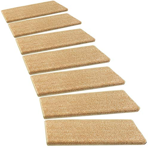 PURE ERA Bullnose Carpet Stair Treads Set of 14 Non Slip Self Adhesive Pet Friendly Indoor Stair Protectors Rugs Covers Mats Skid Resistant Tape Free Soft Dark Beige/Light Brown/Straw 9.5
