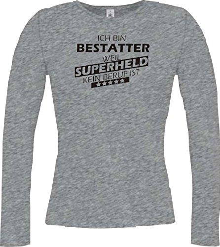 Shirtstown Camisa larga de la señora Estoy Enterrador, weil Superheld sin Trabajo ist gris deportivo