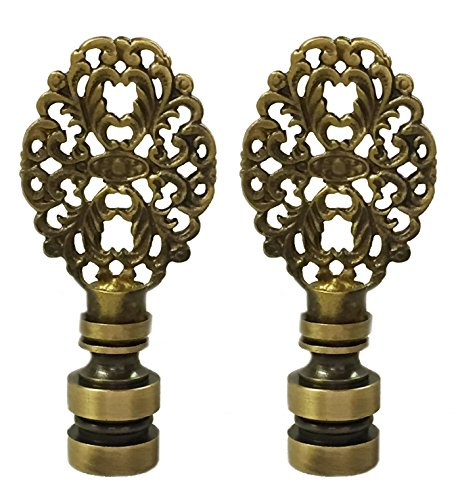 (Royal Designs Oval Filigree Lamp Finial for Lamp Shade- Antique Brass Set of 2 )