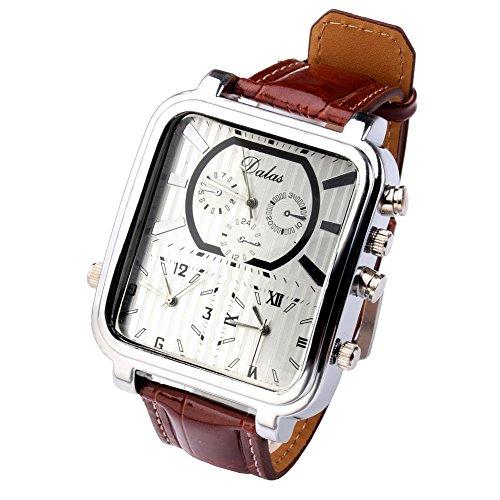 Top Plaza 1pc Fashion Pilot Dial 3 Move Multiple Time Zone Sport Leather Men Boy Wrist Watch - Coffee