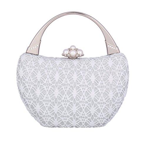 Frame Medium Silver Bridal Prom Party Clutch Metal Damara Wedding Womens Handbag Ewyq7PcvO