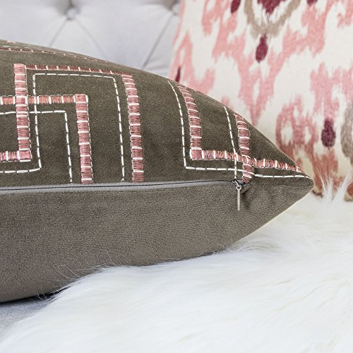 Homey Cozy Embroidery Blush Velvet Throw Pillow Cover,Pink Series Coffee Brown with Pink Line Soft Fuzzy Cozy Warm Slik Decorative Square Couch Cushion Pillow Case 20 x 20 Inch, Cover Only