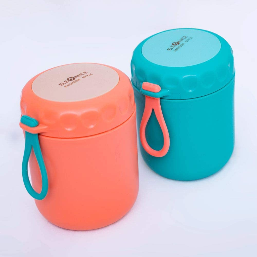 Stainless Steel Food Flasks Thermos Food Jar Leak Proof Insulated Lunch Container For Kids Adults Soup Porridge Holder Portable Food Jar Ideal For Picnic School Office (430ML, Green or pink) (Green)