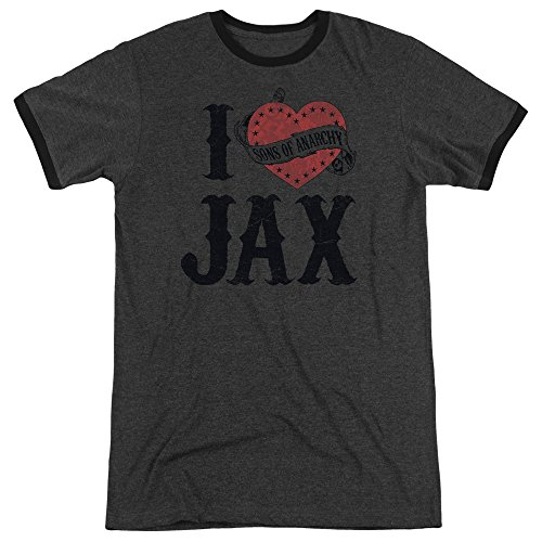 (Sons Of Anarchy I Heart Jax Adult Heather Ringer Shirt (Charcoal, X-Large) )
