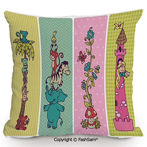 FashSam Polyester Throw Pillow Cushion Vintage Children Banner Set Animals Safari Palm Tree Flowers Princess Mushroom for Sofa Bedroom Car Decorate(18