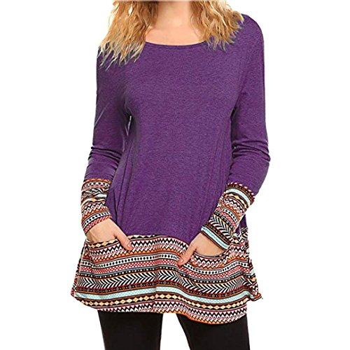 Shirt patchwork vestiti lunga pizzo a camicie Donna tasca moda strisce top Viola maniche casual sciolto Yesmile Donne T camicetta manica stampa wfq6HTw