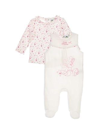 Minnie Coffret Salopette Velours et T-Shirt bébé Fille Blanc et Rose de 0 à ddaf6e8f1f0